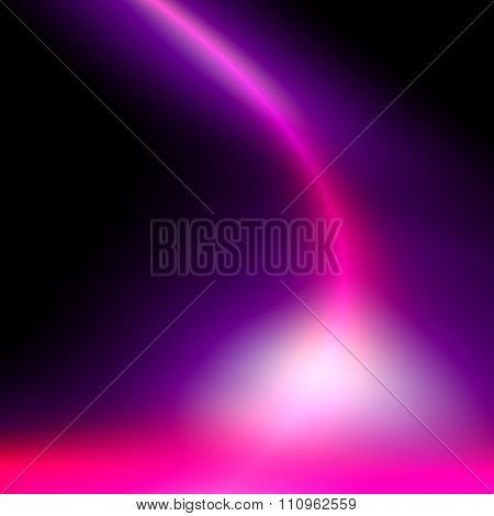 Powerful purple light curve. Sci fi shine or glare. Soft stream flowing over dark back.