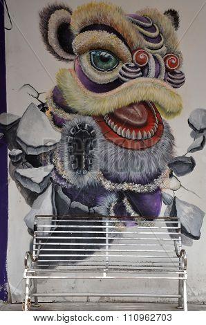 Wall Grafitti Of Lion Head, Penang Malaysia