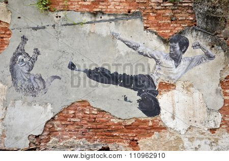 Painting Of A Street Mural Painting 'the Real Bruce Lee Would Never Do This' Painted By 101 Lost Kit