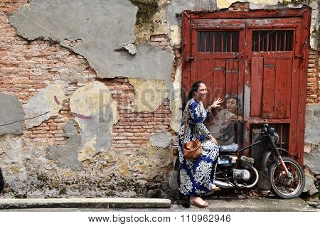 General View Of A Mural 'boy On A Bike' Painted By Ernest Zacharevic In Penang