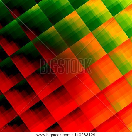 Abstracted reflective squares texture. Odd weird picture. Flat modern design. Ornate vivid colors.