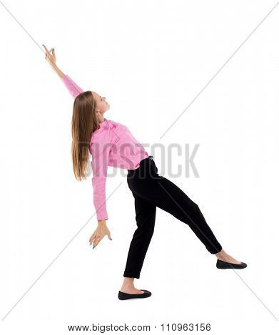 Balancing young business woman.  or dodge falling woman. Rear view people collection.  backside view of person.  Isolated over white background. Woman office worker in a pink shirt and slipped down.