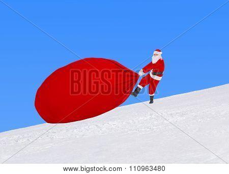 Santa Claus Pull Large Christmas Bag Against Snowy Winter Landscape