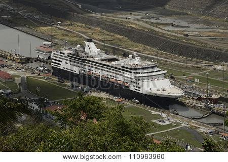 Aerial view of a cruise ship at Pedro Miguel Locks in Panama Canal, Panama
