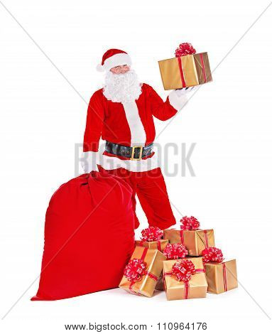 Christmas Santa Claus With Gifts Sack Isolated White Background