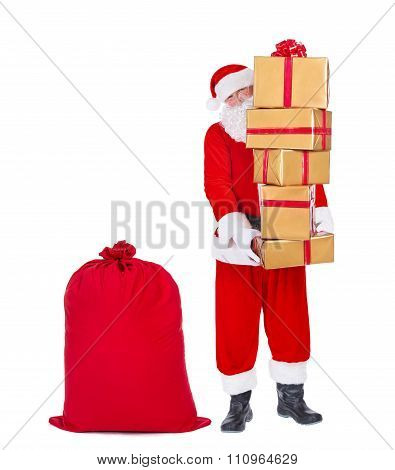 Santa Claus Bring Sack Of Gifts Isolated On White