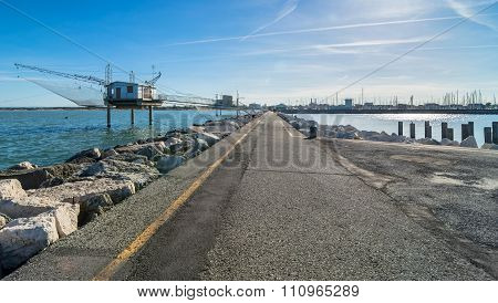 Pier And Fishing Hut In Marina Di Ravenna, Italy