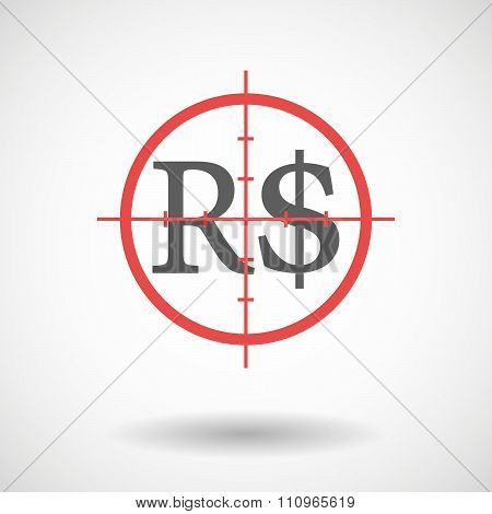 Red Crosshair Icon Targeting A Brazillian Real Currency Sign