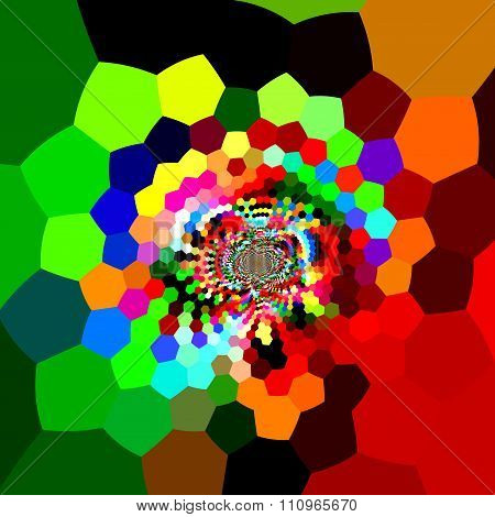 Distorted hexagons in full color spectrum. Digital fantasy pic. Ornate colorful back.