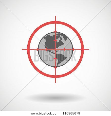 Red Crosshair Icon Targeting An America Region World Globe