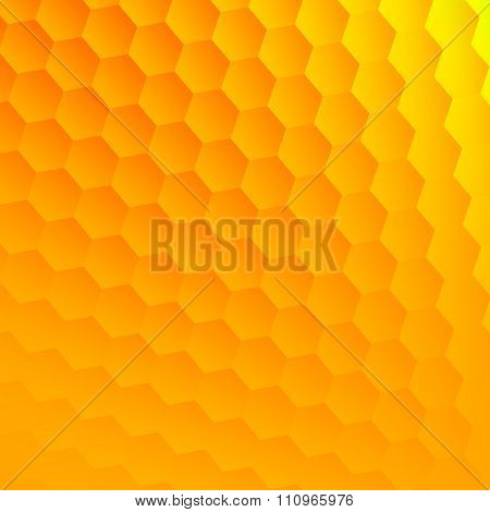 Abstract yellow hexagons background. Cool hexagon grid. Hex shape backdrop. Flat design element.