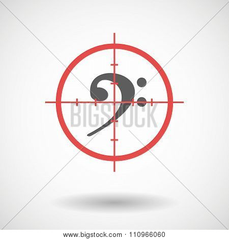 Red Crosshair Icon Targeting An F Clef