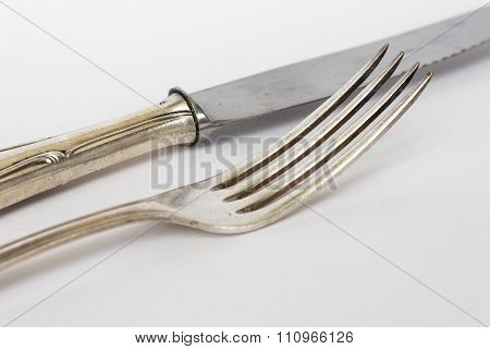 Knife And Fork - Sterling Cutlery, Silver Flatware Set