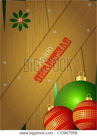 Christmas Wooden Portrait Panel With Baubles