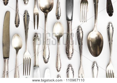 Beautiful Sterling Cutlery Set On White Background