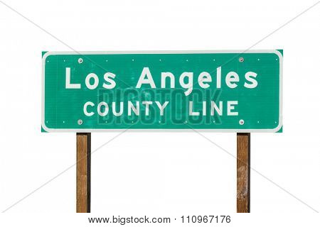Los Angeles county line sign isolated on white.