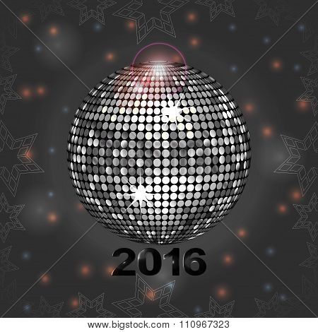 Festive Grey Glowing Background With Disco Ball