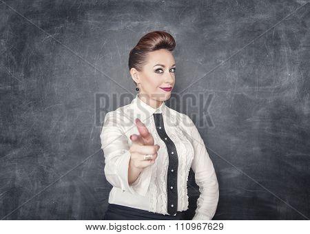 Beautiful Business Woman Showing Gun Sign