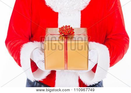 Santa Claus With Christmas Gift Isolated On White Background