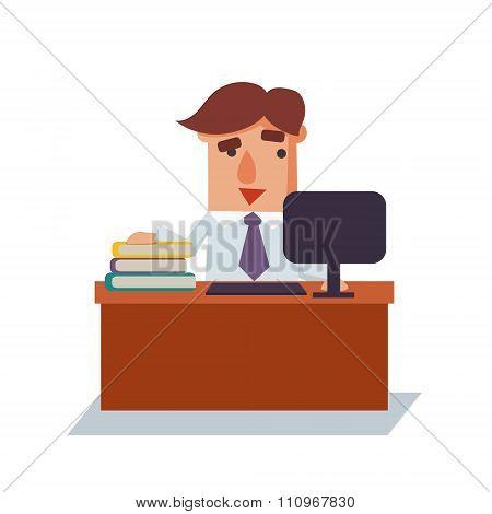 Winking Business Man Cartoon Character Vector Illustration