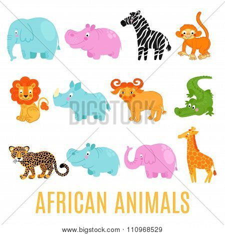 African animals set isolated on white background