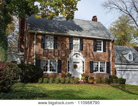 Old Brick Country Home in Autumn