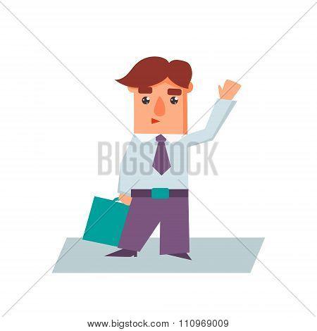 Business Man Raising Hand Cartoon Character Vector Illustration