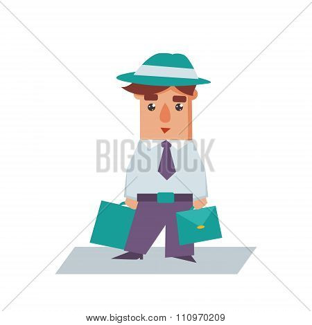 Business Man with Bags Cartoon Character Vector Illustration