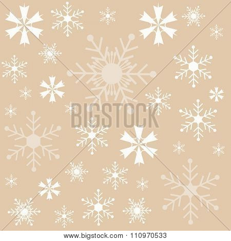 Winter snowflakes brown background