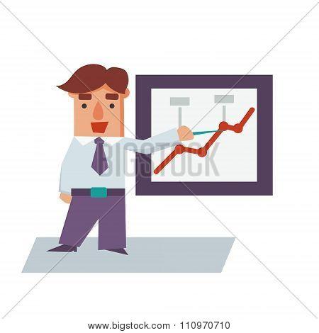Reporting Business Man Cartoon Character Vector Illustration