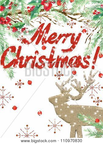watercolor Christmas background. winter holidays background. Wish Merry Christmas text. watercolor i