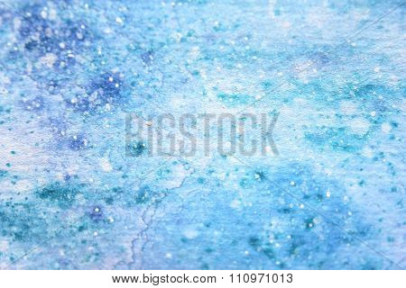 Snow Watercolor on Blue Background 1