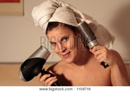 Woman With Blowdryer