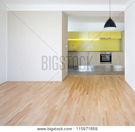 new design empty flat with new kitchen