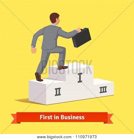 Climbing to business success concept