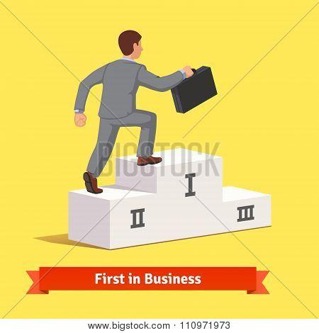 Climbing to business success concept