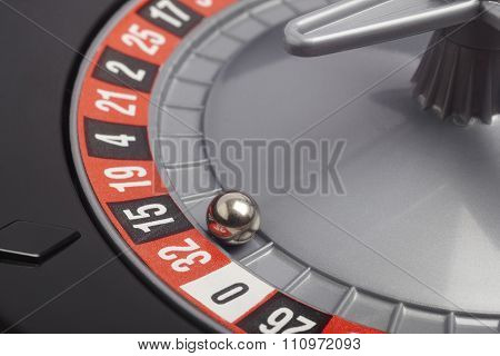 Casino Roulette Detail With Ball In Number Thirty-two. Gambling