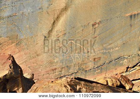 Ancient Drawings In Wadi Rum, Jordan