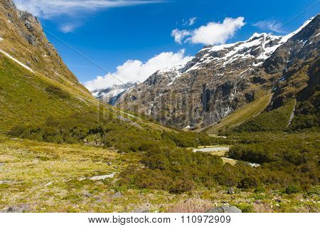 Gertrude Seddle with a snowy mountains, Fiordland national park, New Zealand South island