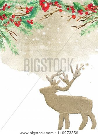 watercolor winter holidays background. watercolor illustration Christmas tree, reindeer, mistletoe b