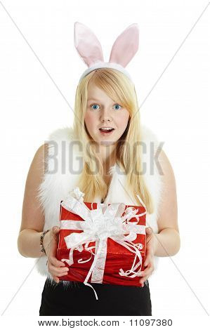 Happy Smiling Girl With A Gift - Rabbit