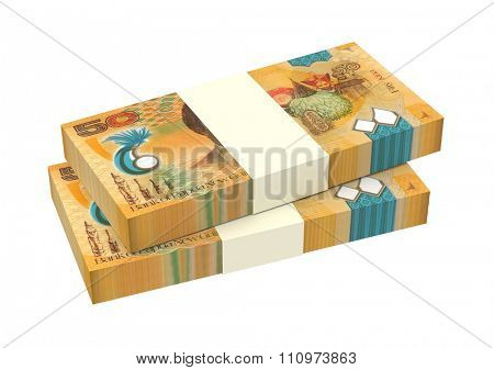 Papua New Guinean kina bills isolated on white background. Computer generated 3D photo rendering.