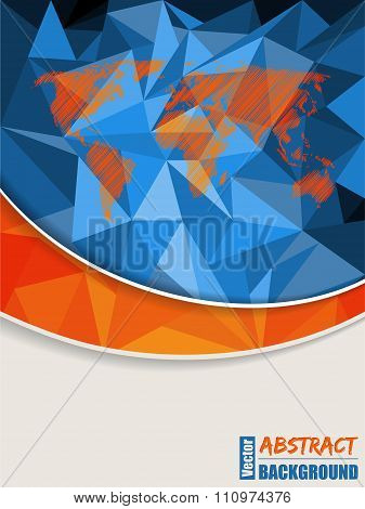 Abstract Blue Brochure With Scribbled World Map
