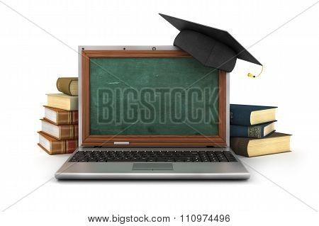 Concept Of Online Studying Or Webinar. Empty School Board In The Laptop Screen Near Stack Of The Boo
