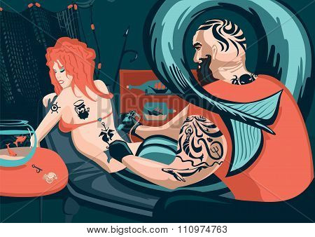 Tattoo master and mermaid