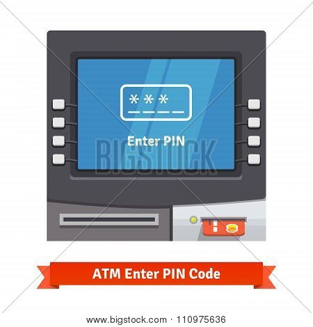 ATM machine with current operation on the screen