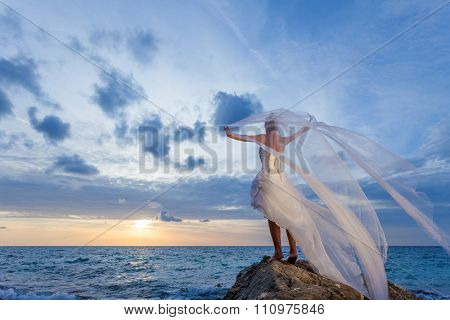 Beautiful Bride on the beach at sunset