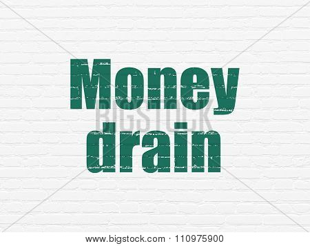 Money concept: Money Drain on wall background