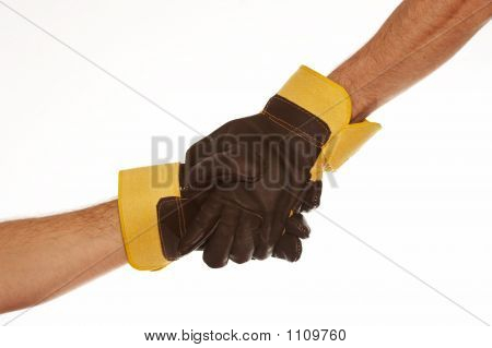 Male Handshake With Work Gloves