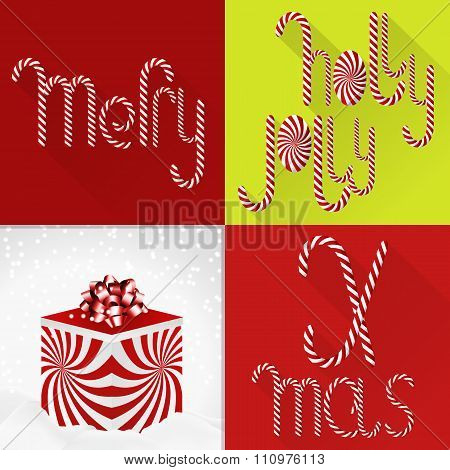 Christmas Card In A Contemporary Colorful Tile Design With Handmade Sweet Lolli Font And Gift Box